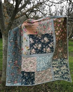 It is a happy day when a quilt is finished! This one is hanging out in our walnut orchard. It is made from vintage scraps found at the flea market all in one day. I did a very little cutting in order to preserve the love I feel for the pieces by cristina Rag Quilt, Scrappy Quilts, Easy Quilts, Big Block Quilts, Quilt Blocks, Quilting Projects, Quilting Designs, Quilting Templates, Quilting Ideas