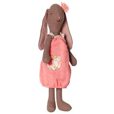 Danish award winning brand Maileg mini bunny Fleurie is beautifully dressed in a pink dress with a pink flower in her ear.