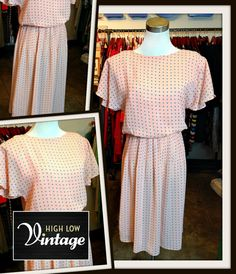 Vintage Pink Peach Print Poly Dress FREE by HighLowVintage on Etsy