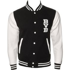 Black Veil Brides School Varsity Jacket (Black) (£35) ❤ liked on Polyvore featuring outerwear, jackets, tops, coats, varsity style jacket, black jacket, letterman jackets, college jackets e black varsity jacket