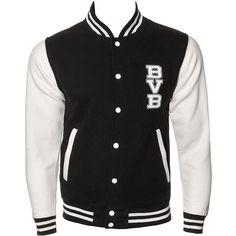 Black Veil Brides School Varsity Jacket (Black) (£35) ❤ liked on Polyvore featuring outerwear, jackets, tops, coats, varsity style jacket, black jacket, letterman jackets, college jackets e black varsity jacket