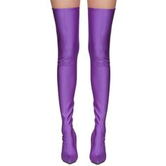 Balenciaga Purple Knife Over-the-Knee Boots (2 145 195 LBP) ❤ liked on Polyvore featuring shoes, boots, leather sole boots, pointed toe over the knee boots, over-knee boots, pointed toe boots and purple thigh high boots
