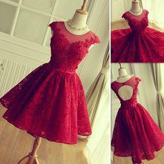2016 Rote Spitze-Abschlussball-Kleider Kurzer Minirock-bloßer Ansatz Tulleappliques Abschluss-Heimkehr-Partei-Kleider Vestidos De Fiesta Cortos