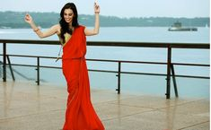 Evelyn Sharma Looking Awesome In red Saree