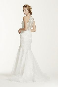 Petite Lace and Tulle Trumpet Gown 7WG3735