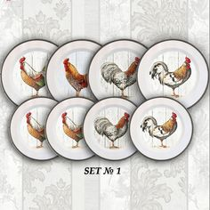 Wall decor 4 plates set Roosters home decor by PaperPlateArt