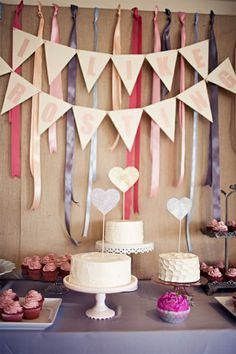 dessert table with banners/streamers