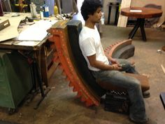 lounge chair made out of reclaim industrial pattern