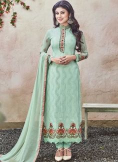 Mouni Roy Sea Green Embroidery Work Bollywood Churidar Georgette Suit http://www.angelnx.com/Bollywood