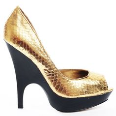 These unforgettable heels from Bebe are sure to make you the life of the party. Brice is a pump in gold snakeskin-textured leather featuring an open toe and a D'Orsay style single-side design. A crafted 1 inch platform and connected 4 1/2 inch stiletto heel complete these phenomenal pumps.