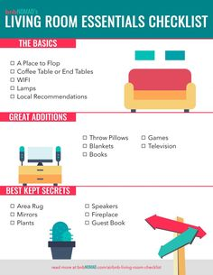 As full-time Airbnb guests, we've compiled the ultimate living room checklist for any host looking to spruce up their space. Here are all the items you need to create the perfect Airbnb living room. New Home Checklist, Apartment Checklist, Cleaning Checklist, House Essentials, Apartment Essentials, Bathroom Essentials, Living Room Essentials List, Apartment Hacks, Small Studio Apartments