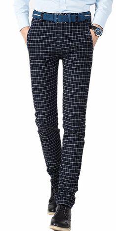 HerQueen Men's Tartan Pants Slim Plaid Vintage Straight Casual Pants Size 34