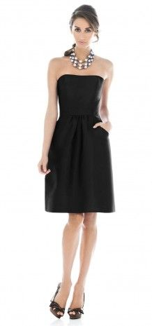 its short and has pockets. love it!    Black Strapless Short Bridesmaid Dress G129 with a chunky necklace!!