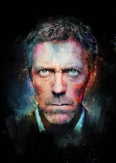 Amazing Digital Portrait of Celebrity. Created by Richard Davies, a British illustrator and graphic designer. Gregory House, Digital Portrait, Digital Art, Best Bookmarks, Hippie Hair, Hugh Laurie, Photoshop Projects, Photoshop Tutorial, Face Art