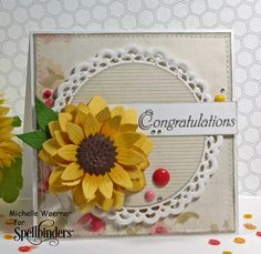 Stop og frimærke roserne: Sunflower tillykke - Joanna Sunflower Cards, Spellbinders Cards, Congratulations Card, Get Well Cards, Heartfelt Creations, Fall Cards, Card Sketches, Scrapbook Cards, Scrapbooking