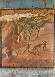 Herculaneum, painting of Punishment of Dirce Atrium House, Pompeii And Herculaneum, Ancient Art, Archaeology, Fresco, Mosaics, Portal, Rome, Painting