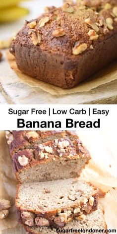 It is possible to make moist and delicious low carb banana bread with REAL banana and still keep the carb count low! Check out this almond flour banana bread recipe - it has gorgeous notes of cinnamon Sugar Free Desserts, Low Carb Desserts, Low Carb Recipes, Dessert Recipes, Dessert Bread, Diabetic Desserts Sugar Free Low Carb, Diabetic Cake Recipes, Bread Cake, Sugar Free Recipes