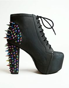 Jeffrey Campbell Lita Platform Boot in Black with Rainbow Spikes Oh.My.Glob. If these came in Damsels I'd love them even more.