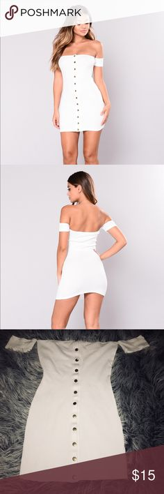 Fashion Nova Off The Shoulder White Dress Brand new without tags Fashion Nova size medium white off the shoulder button up mini dress. Made of a thick material - not see through at all. Super cute and can be dressed down or up with a pair of heels! Buttons are gold. Fashion Nova Dresses Mini