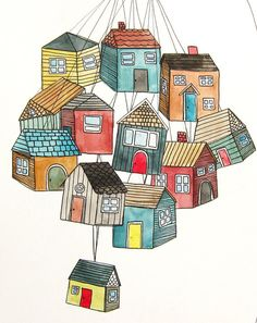Original Illustration of Houses, Home Art, Housing Illustration, Piles of Houses, Piles of Thoughts, Painting, Artwork - Houses are Thoughts