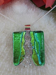 Transparent and dichroic green fused glass by FoxWorksStudio, $35.00