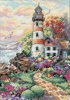 I love lighthouses!  Gold Collection Petite Beacon At Daybreak Counted Cross Stit-5 X7