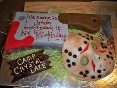 Friday the 13th 13th Birthday Parties, 50th Party, 12th Birthday, Boy Birthday, Birthday Ideas, Birthday Cake, Creepy Food, Movie Cakes, Cute Cakes