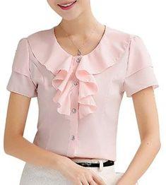 Yasong Women Girls Short Sleeve Slim Fitted Formal Top Work Blouse Frill Ruffle Blouse Pink UK 6 Formal Tops, Formal Blouses, Work Dresses For Women, Frocks For Girls, Mode Hijab, Work Blouse, Short Tops, Pink Uk, Blouse Designs