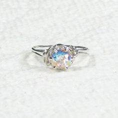 Natural Mercury Mystic Topaz Gemstone Ring Sterling Silver | cameojewelryart - Jewelry on ArtFire