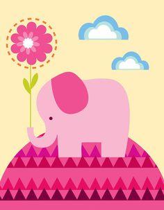 Elephant with Flower Canvas Art