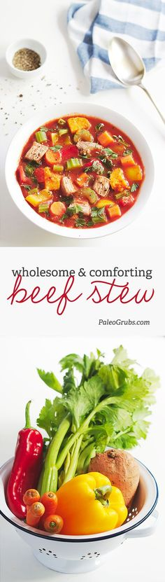 This super easy and comforting slow cooker beef stew is amazing! It is hearty and full of assorted veggies for a well-rounded meal. Add in butternut squash. Crock Pot Recipes, Paleo Crockpot Recipes, Slow Cooker Recipes, Healthy Recipes, Paleo Soup, Easy Beef Stew, Guisado, Paleo Grubs, Healthy Slow Cooker