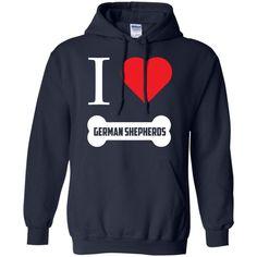 German Shepherd - I LOVE MY German Shepherd (BONE DESIGN) - Pullover Hoodie 8 oz #germanshepherd