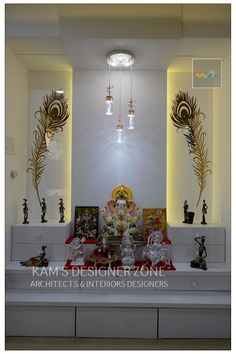 Mandir interior design classic style dining room by kam's designer zone classic Pooja Room Door Design, Room Interior Design, Home Room Design, House Design, Luxury Interior, Flat Interior, Interior Modern, Temple Room, Home Temple