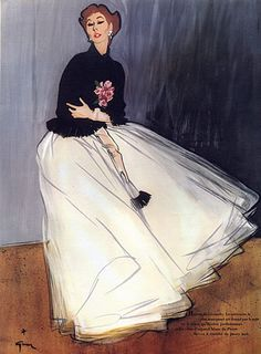 Givenchy 1952 René Gruau, Evening Gown