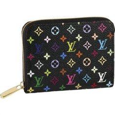 Women Louis Vuitton Monogram Multicolore Zippy Coin Purse Black M60268