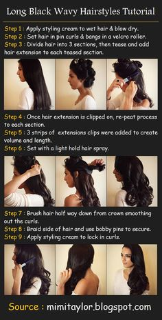 Long Black Wavy Hairstyles | beauty tutorials I dont use a blow dryer or extensions and it still works and is safe for your hair :)