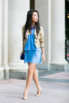{Wendy's Lookbook} : Layered Blue :: Georgette dress & Cropped Trench