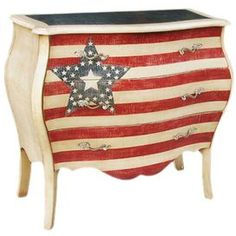 """Joss and Main - Accent chest        Color: Red, white and blue  Dimensions: 34"""" H x 37"""" W x 17"""" D"""