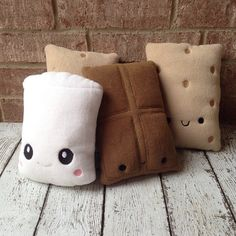 SALE Plush S'mores Set Kawaii Stuffies by PatchyAtBest on Etsy, $30.00