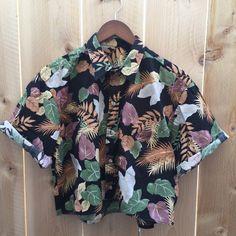 Hawaiian print Crop Top upcycled island shirt by RestoredRose