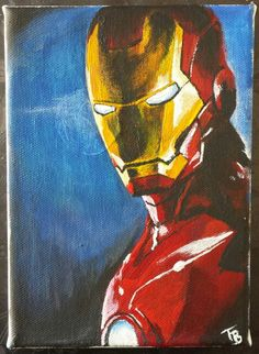 "Ironman in acrylic paint. First in an ""Avengers"" series of three. I actually painted this as a joke for a friend of mine, but when he didn't buy it right away I decided to add a few more Avengers to the sale."
