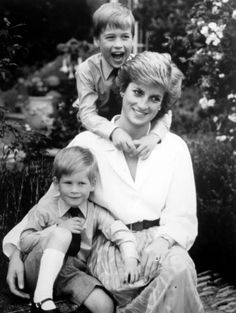 Princess Diana with young Prince William and Prince Harry