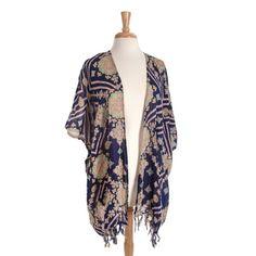 Wholesale navy blue paisley print kimono fringe One fits most