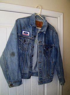 Vintage Men's Blue Denim Jean Jacket Levi Strauss #70516-0216 FORD Racing Jacket #LeviStraussRedTag #DenimJacket