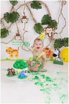 Cake Smash - jungle/monkey theme Kerri Donsky Photography https://m.facebook.com/KerriDonskyPhotography