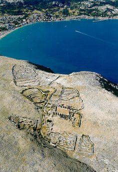 Mrgari flower-shaped dry stone sheepfolds on the island of Krk, Croatia