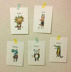ゆかいなアニマル ポストカードサイズ5枚 ゆる可愛い動物 | ハンドメイドマーケット minne