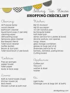 FREE printable Setting Up House Checklist: Kitchen, Cleaning, Linens. Starting from scratch setting up house. Recommended Cleaning supplies. Best Kitchen Basics