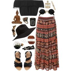 bohemian by nessa-horan on Polyvore featuring Topshop, Alice & You, H&M, Dorothy Perkins, Conair, Pelle, Library of Flowers, Aesop, Esque Studio and Diptyque