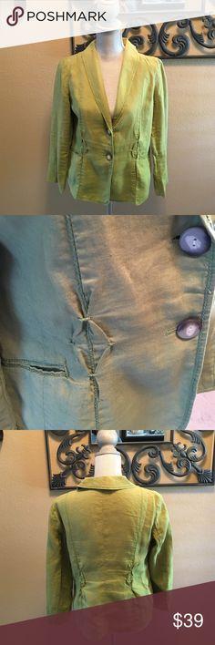J Jill linen jacket with details J Jill linen jacket with too stitching, decorative pleats, front pockets and pretty buttons J. Jill Jackets & Coats